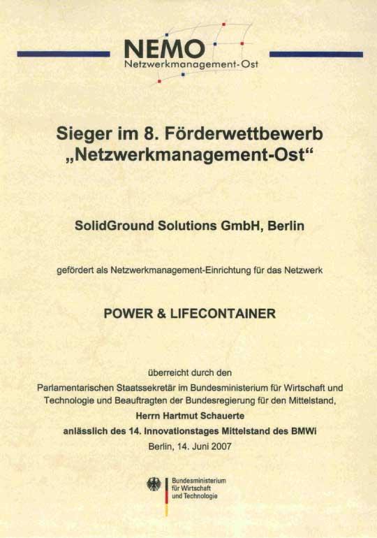 Sieger im 8. Förderwettbewerb Netzwerkmanagement-Ost